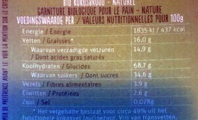 Kokosbrood naturel - Nutrition facts