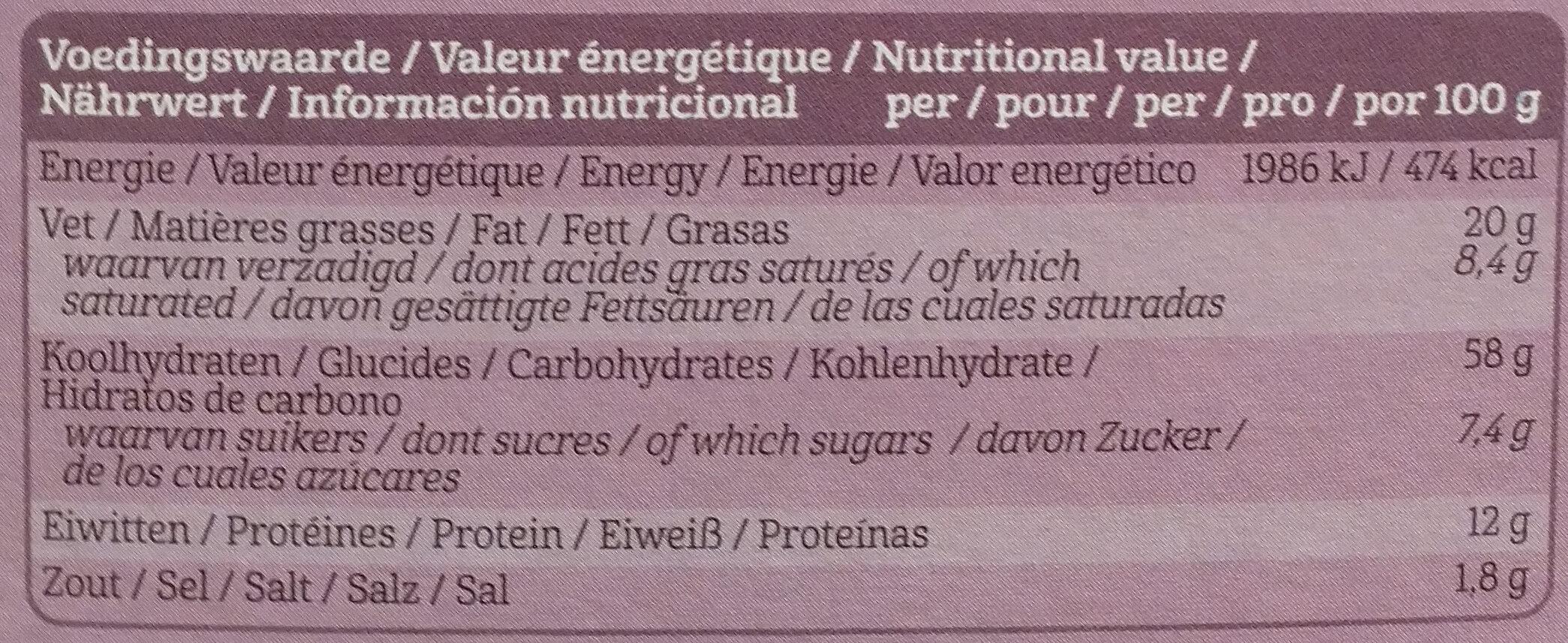 Flatbread vijgen en zaden - Informations nutritionnelles - nl