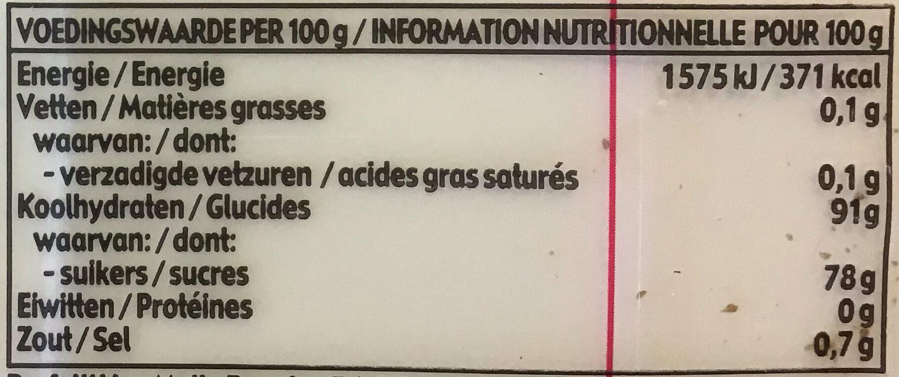 Wybert original - Nutrition facts - nl