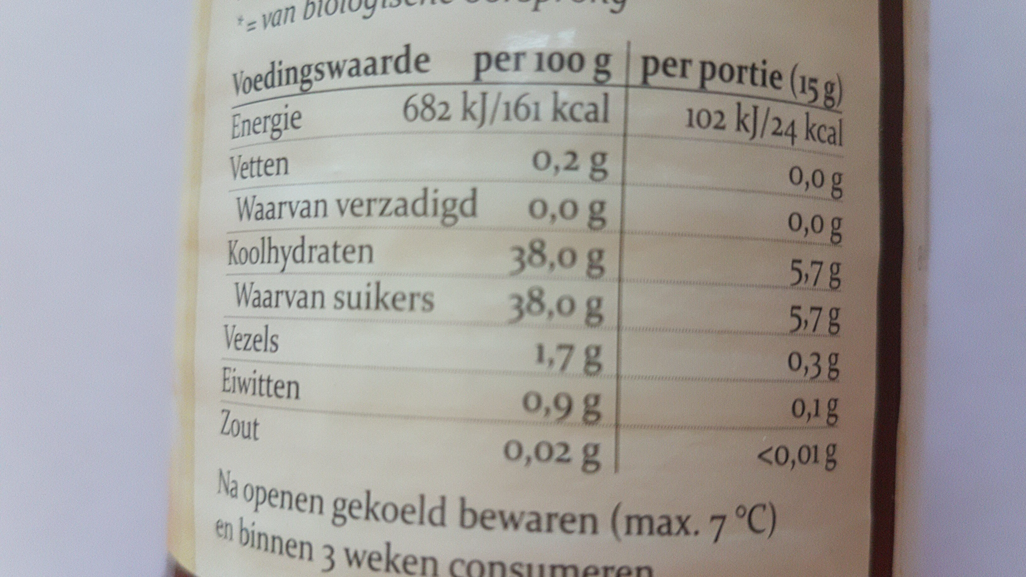 Biologisch Fruitbeleg abrikozen - Voedingswaarden - nl