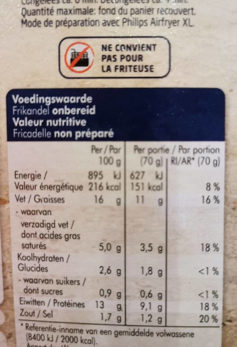 Frikandel, Ofen - Nutrition facts - nl