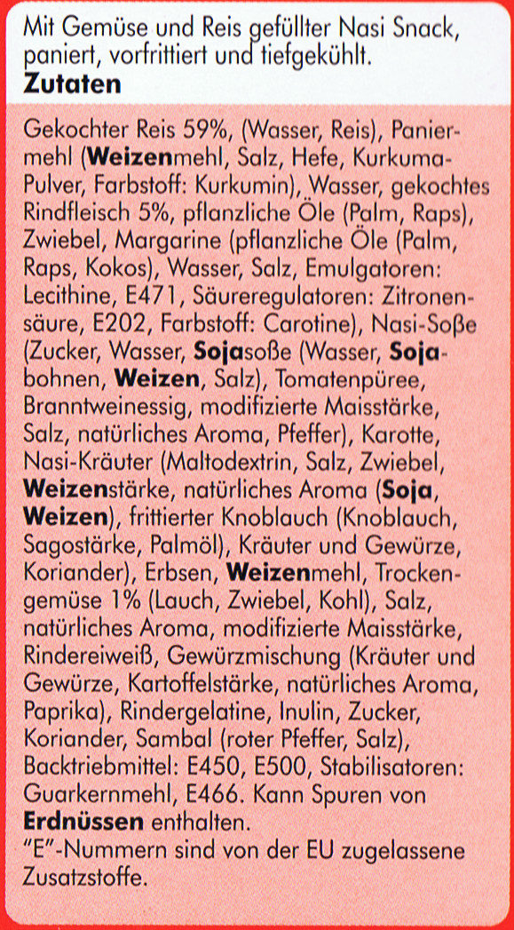 Nasi Snack - Ingredients - de