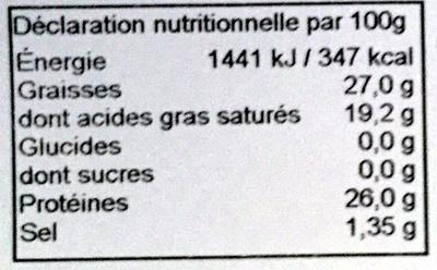 Maasdam (27% M.G) - Informations nutritionnelles
