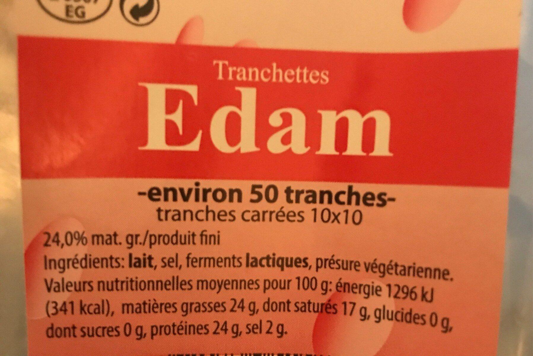 Tranchettes Edam - Voedingswaarden - en