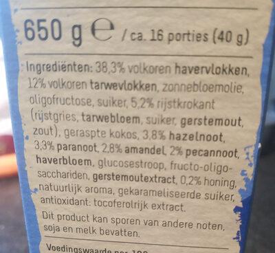 Krokante muesli vier noten - Ingrediënten - nl