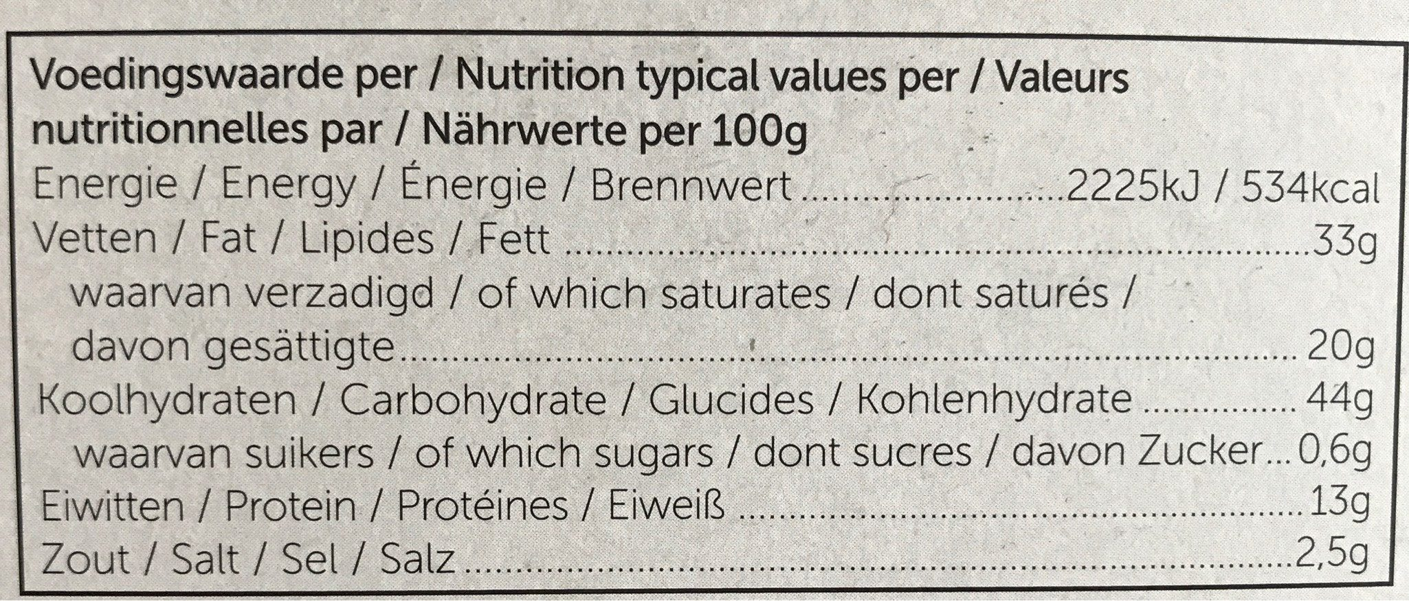 Biscuit Aperitif Fromage Gouda - Voedingswaarden