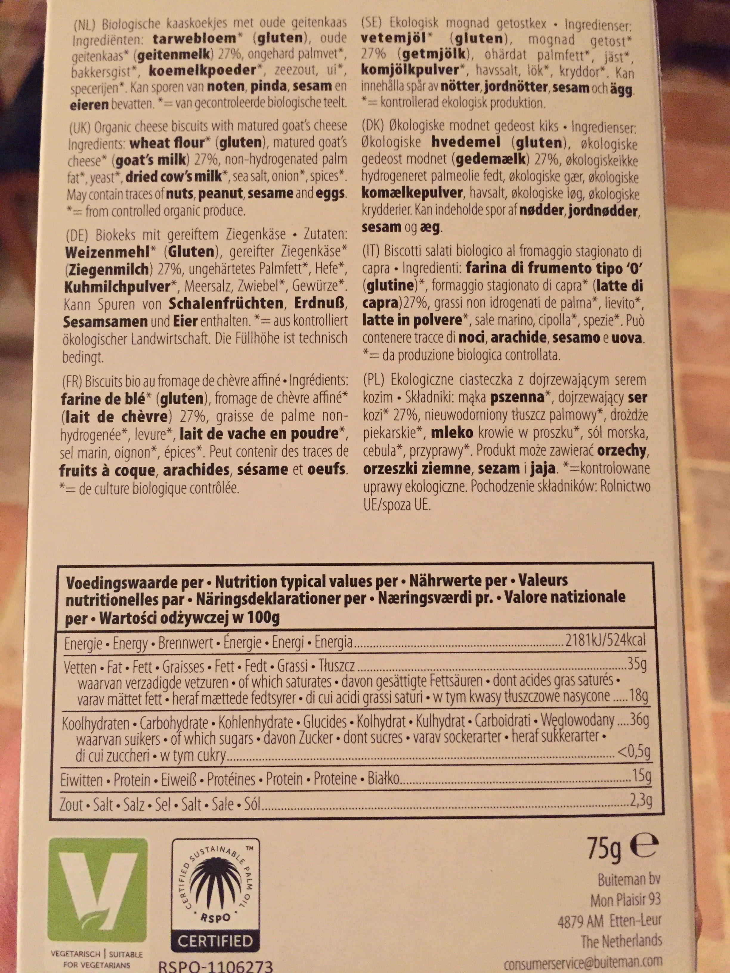 Biscuit Aperitif Fromage Chevre - Ingredients - fr