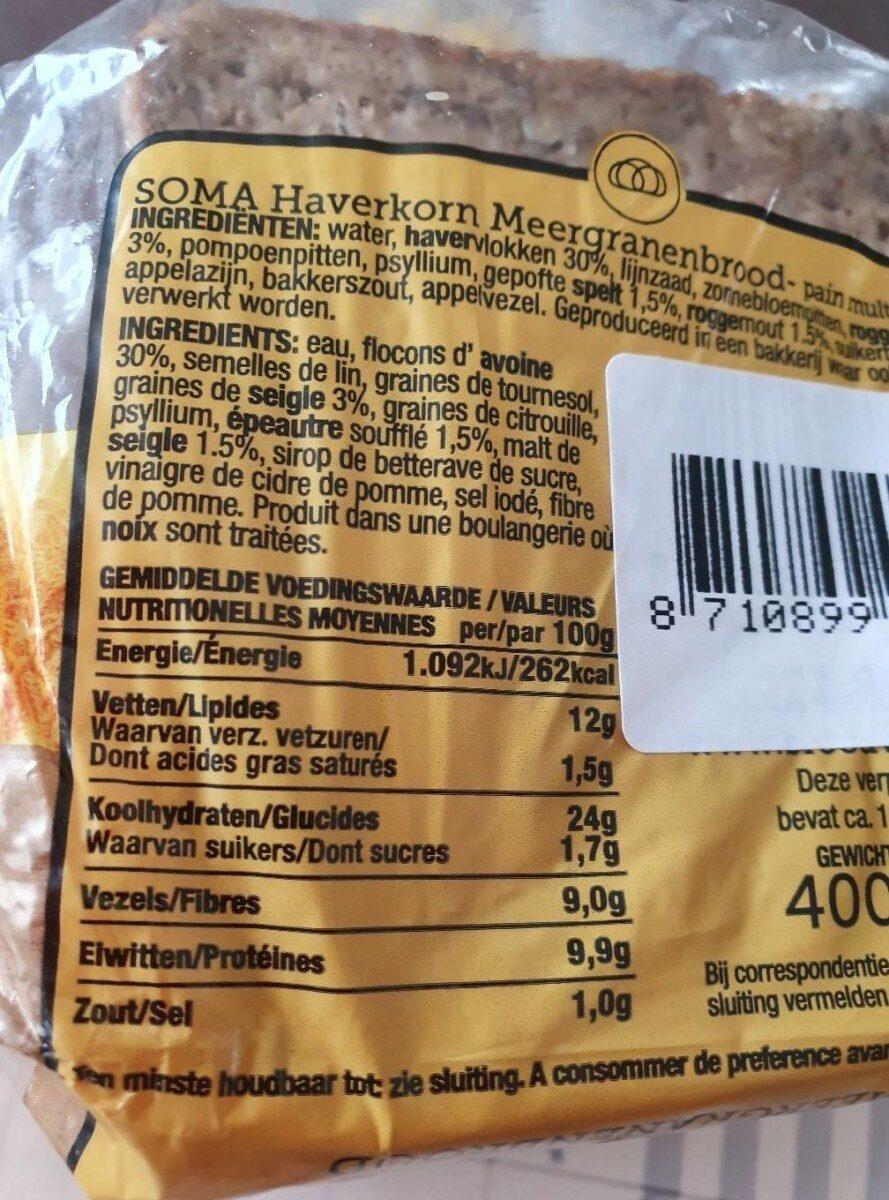 SOMA BROODVAN - Voedingswaarden