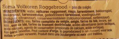 Volkoren Roggebrood - Ingredients