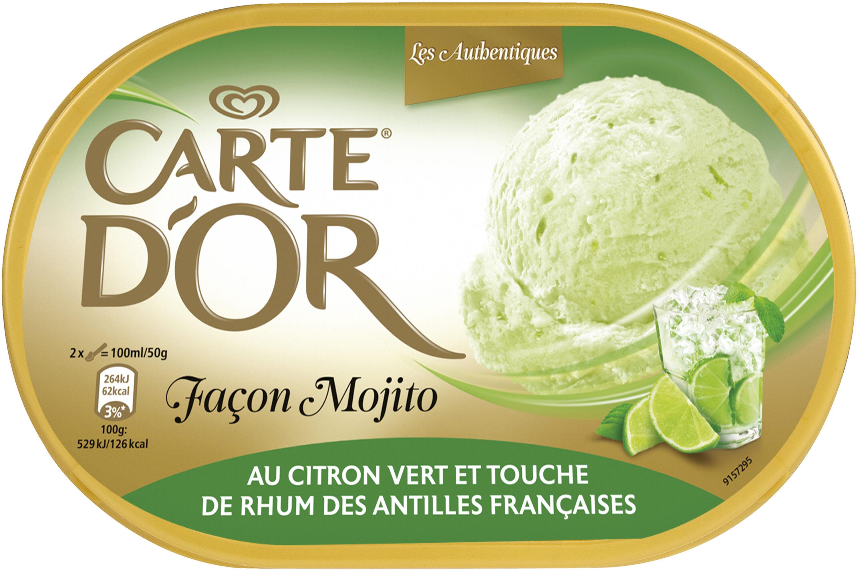 Carte D'or Les Authentiques Glace Façon Mojito au Citron Vert et Touche de Rhum Bac 1L - Produit - fr