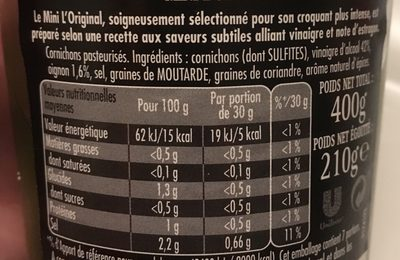 Cornichons, mini l'original - Ingrédients