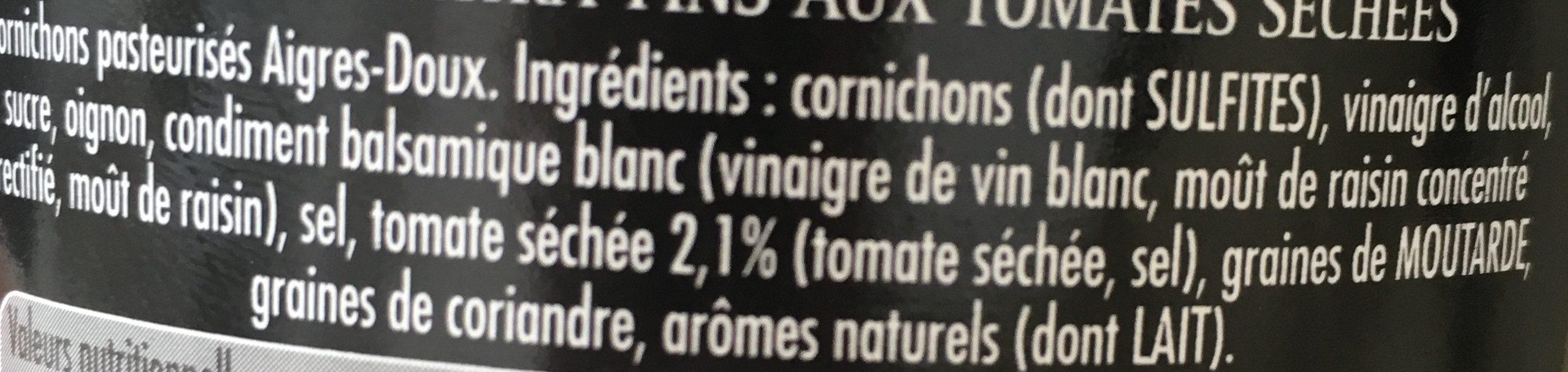 Cornichons aux Tomates Séchées - Ingrédients