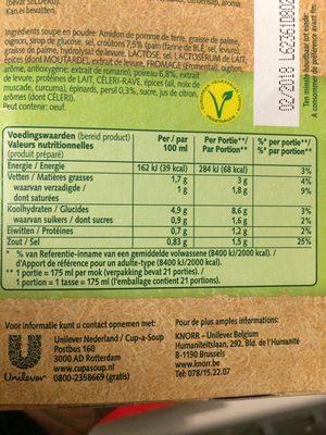 Knorr Cup a Soup Crème De Poireau 21-pack - Informations nutritionnelles - fr
