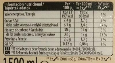 Vainilla - Información nutricional