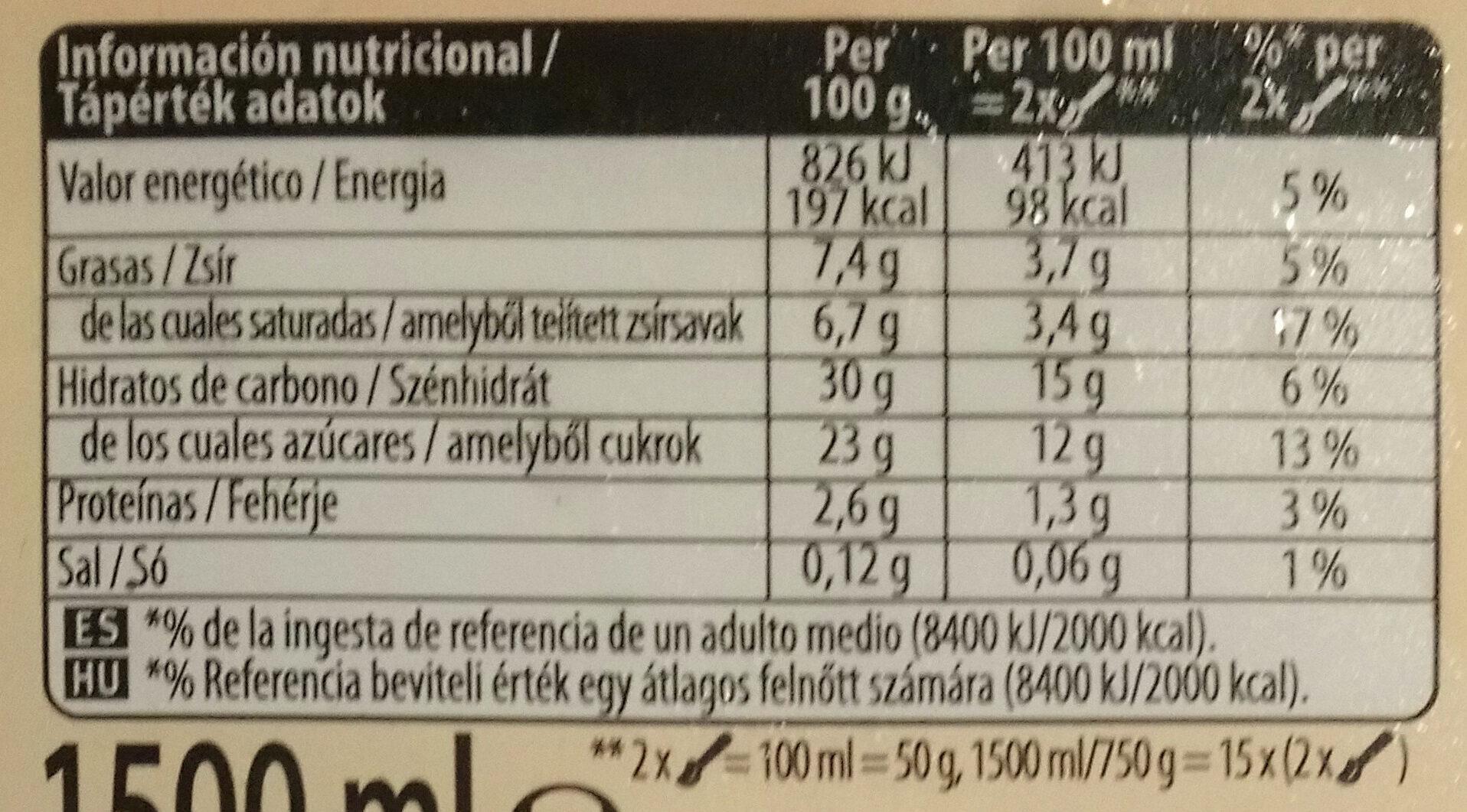 Vainilla - Información nutricional - es