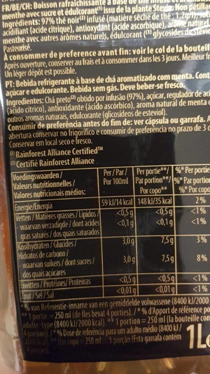 Pure leaf mint tea - Informations nutritionnelles - fr