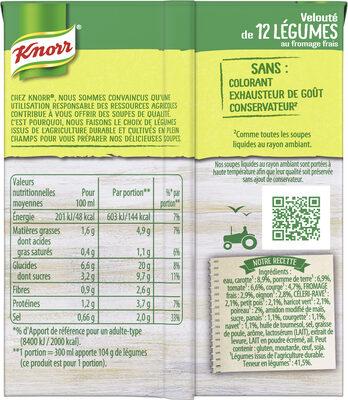 Knorr Soupe Velouté de 12 Légumes au Fromage Frais 30cl - Informations nutritionnelles - fr