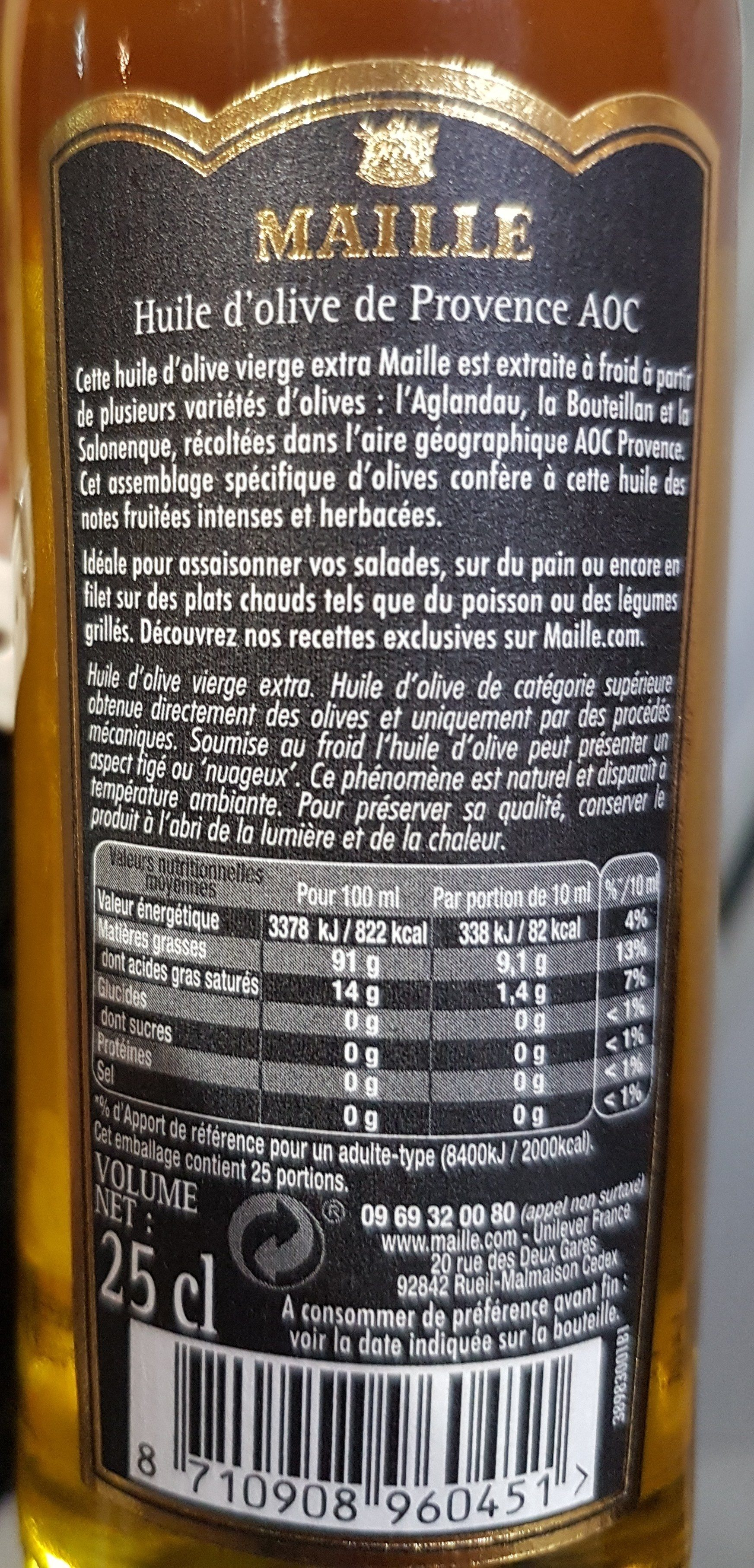 Huile d'olive de Provence AOC vierge extra - Ingredients