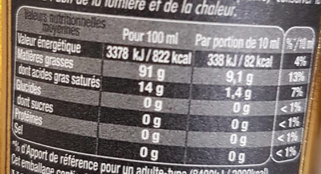 Huile d'olive de Provence AOC vierge extra - Nutrition facts