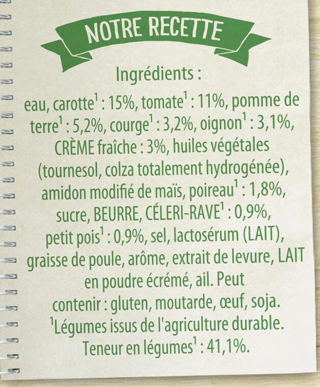 Knorr Soupe Liquide Douceur de 8 Légumes à la crème fraîche - Ingredienti - fr