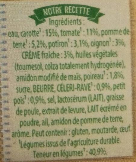 Douceur de 8 légumes à la crème fraîche - Ingrediënten