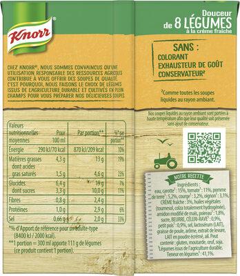 Knorr Soupe Douceur de 8 Légumes à la Crème Fraîche 30cl - Ingrédients - fr