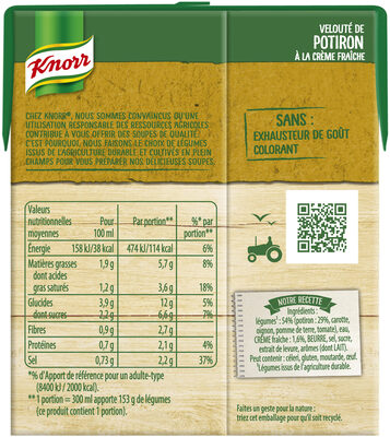 Knorr Les Classiques Soupe Liquide Velouté Potiron Crème Fraîche 30cl - Voedingswaarden - fr