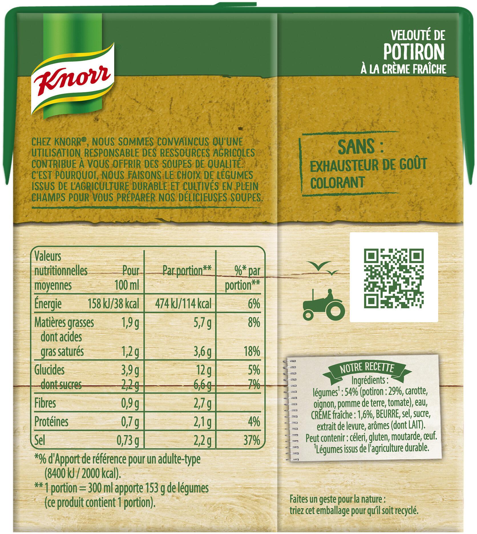 Knorr Les Classiques Soupe Liquide Velouté Potiron Crème Fraîche 30cl - Informations nutritionnelles - fr