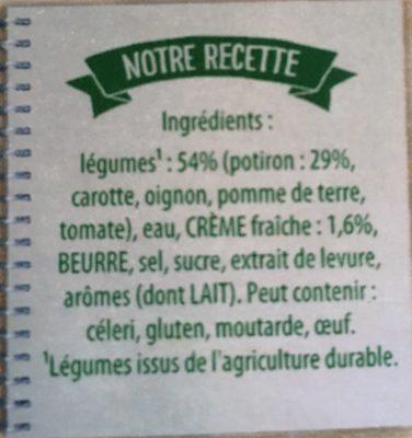 Knorr Velouté de Potiron à la Crème Fraîche Lot 2x1L - Ingrédients - fr
