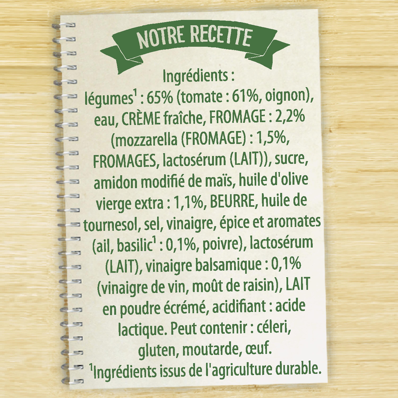 Knorr Soupe Liquide Douceur à l'italienne tomates mozzarella 1l - Ingrediënten