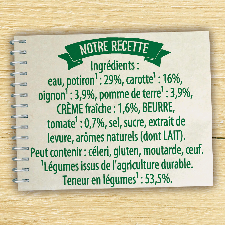 Knorr Soupe Liquide Velouté Potiron Crème Fraîche 50cl - Ingrédients - fr