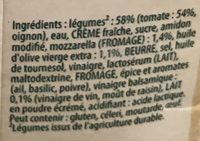 Douceur à l'Italienne tomates, mozzarella (Offre Lot de 2) - Ingrediënten