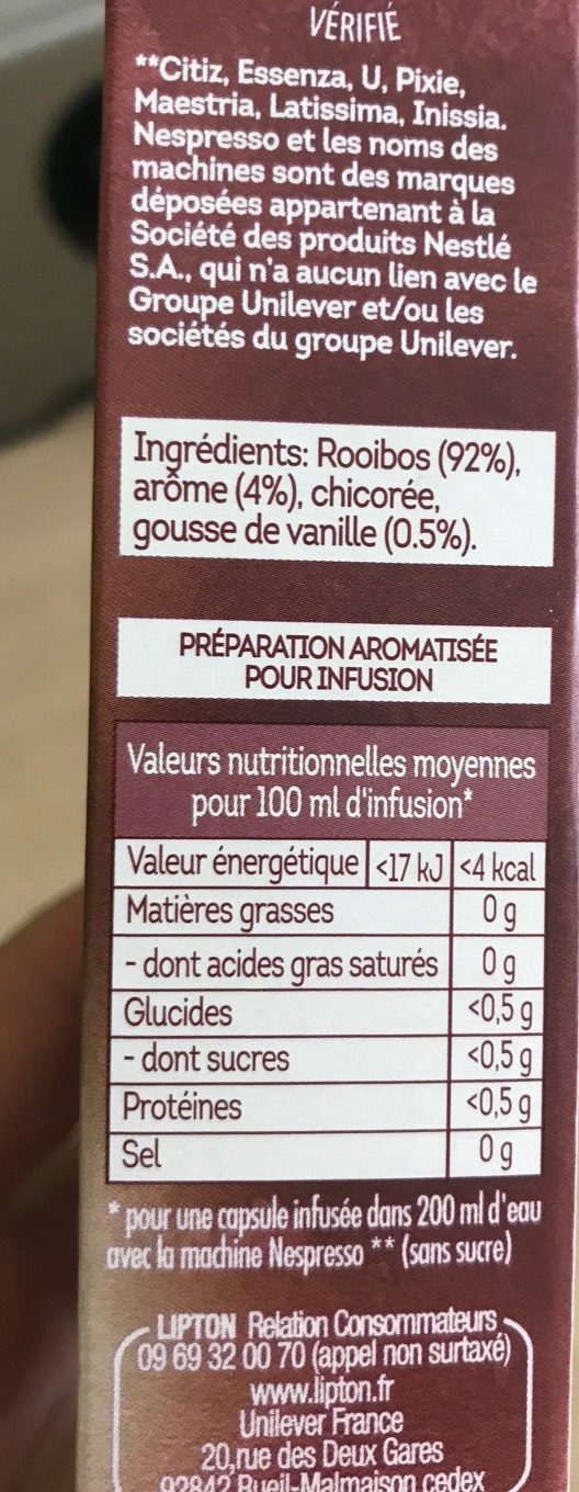 Infusion Rooibos Vanille 10 Capsules Compatibles Nespresso 30 g ...