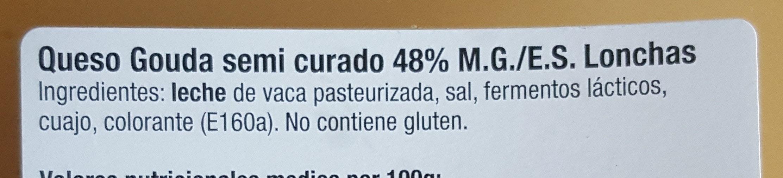 Gouda semi curado - Ingrédients