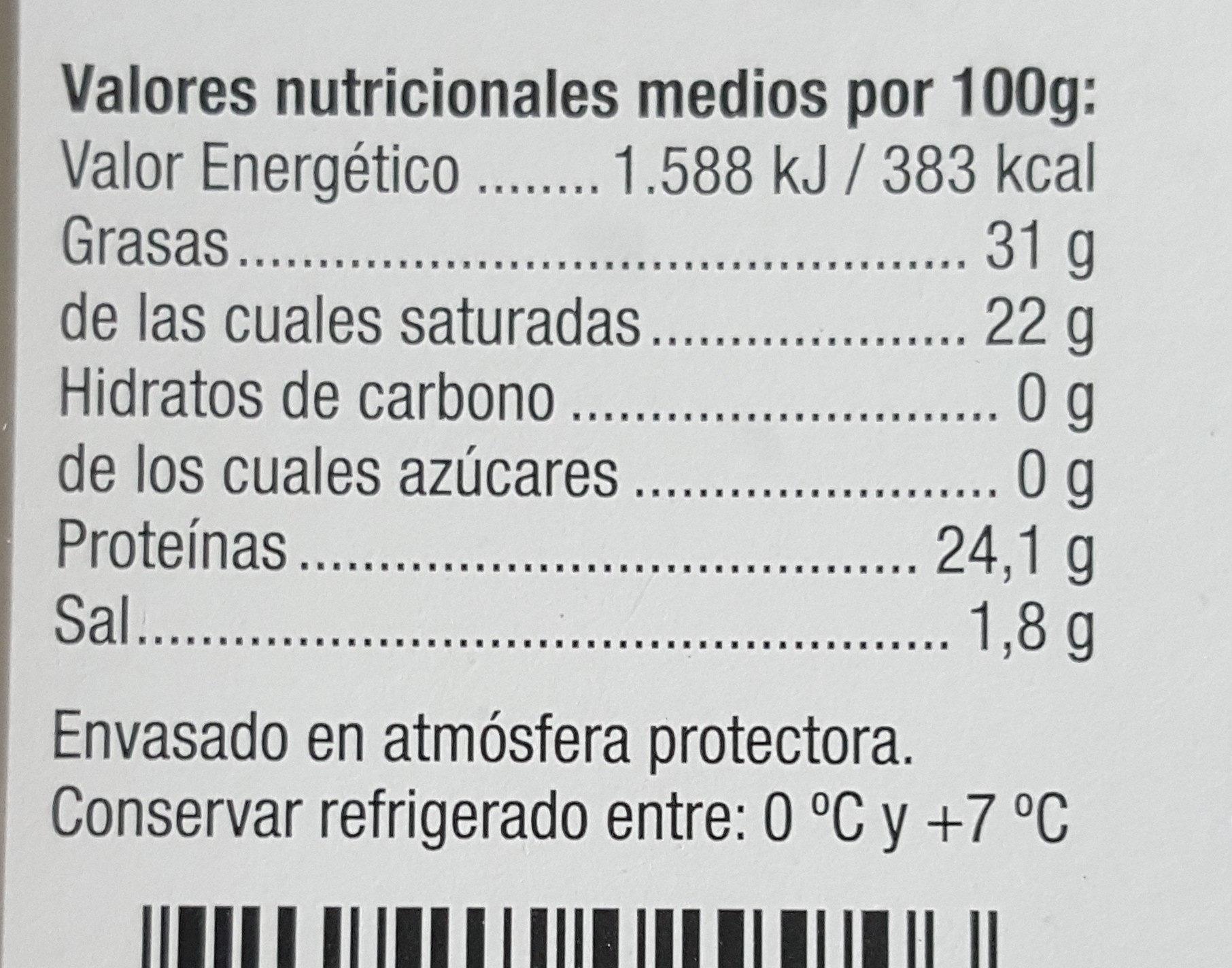 Gouda semi curado - Informations nutritionnelles