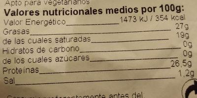 Queso Masdam - Información nutricional