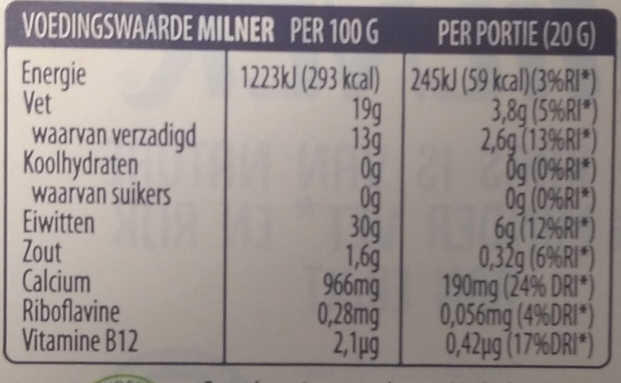 Jong Belegen 30+ - Nutrition facts - nl