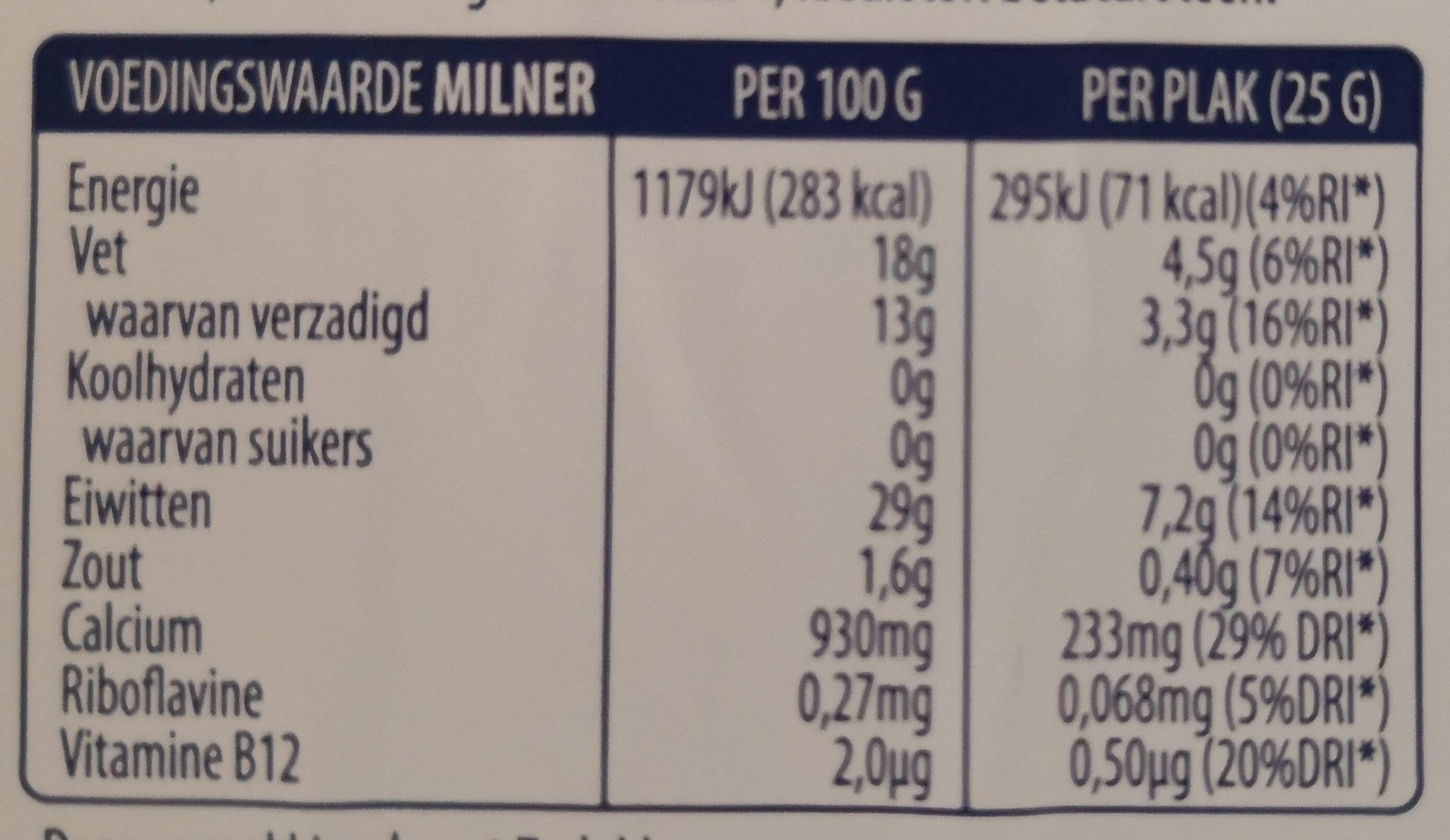 Jong 30+ kaas - Nutrition facts - nl