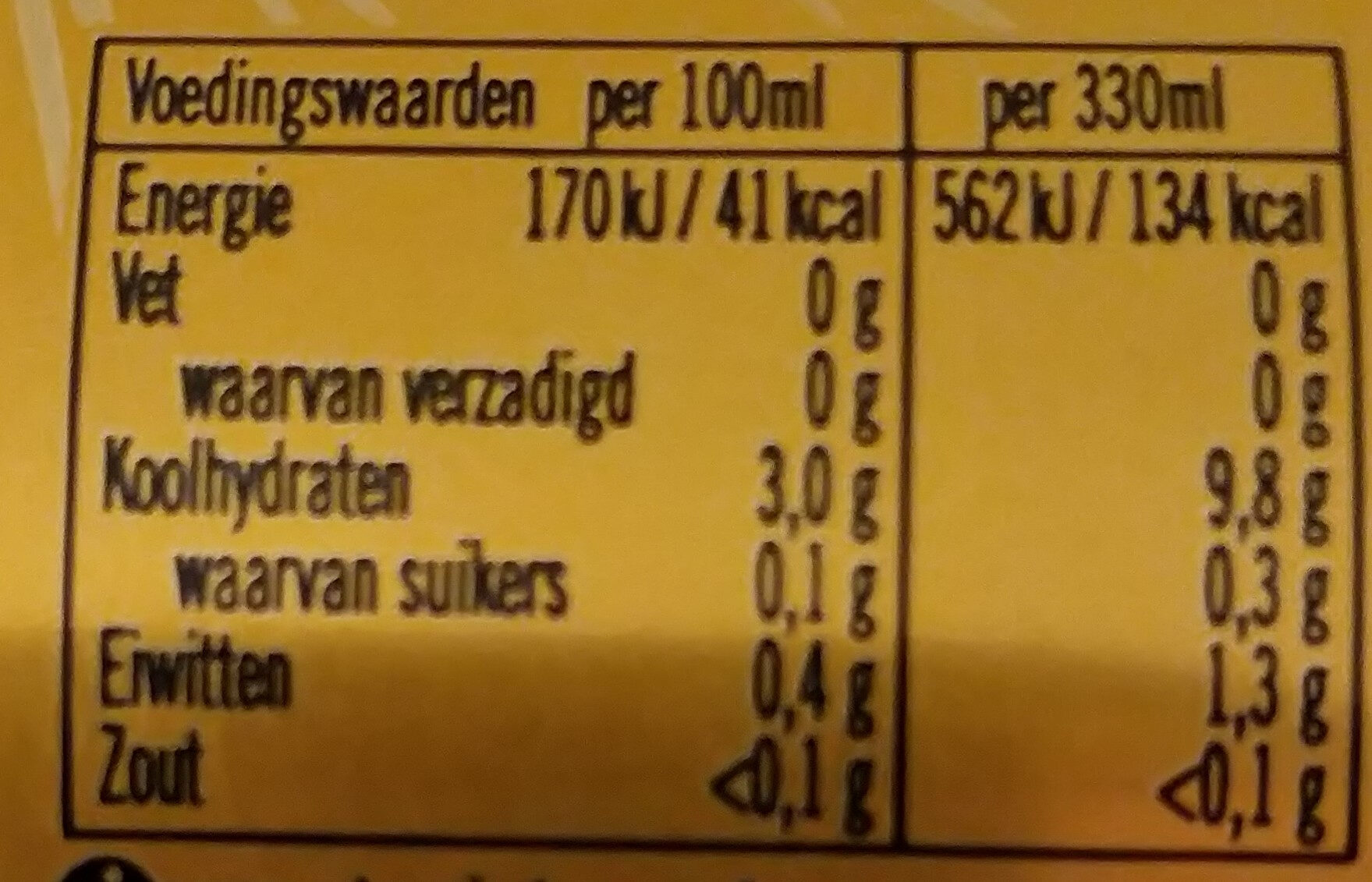 Natuurzuiver bier - Voedingswaarden - nl