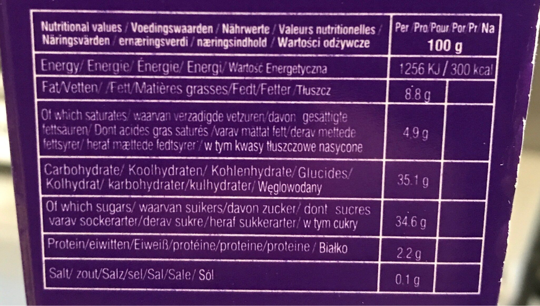 Eclairs - Informations nutritionnelles - fr