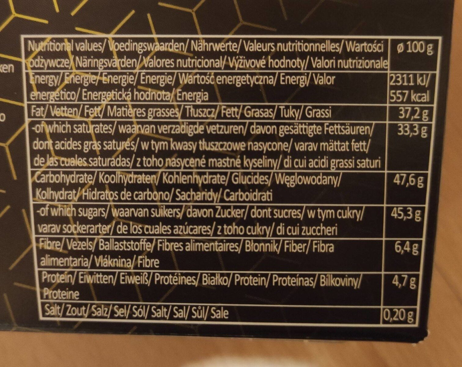 Truffles - Informations nutritionnelles - en