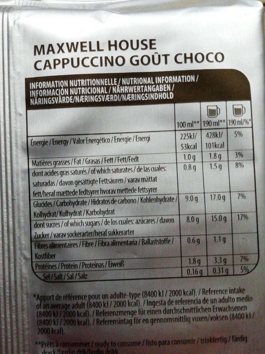 Tassimo cappuccino goût choco - Nutrition facts - fr