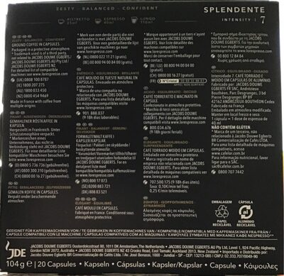 L'or espres splendente 20 capsules - Voedingswaarden - fr