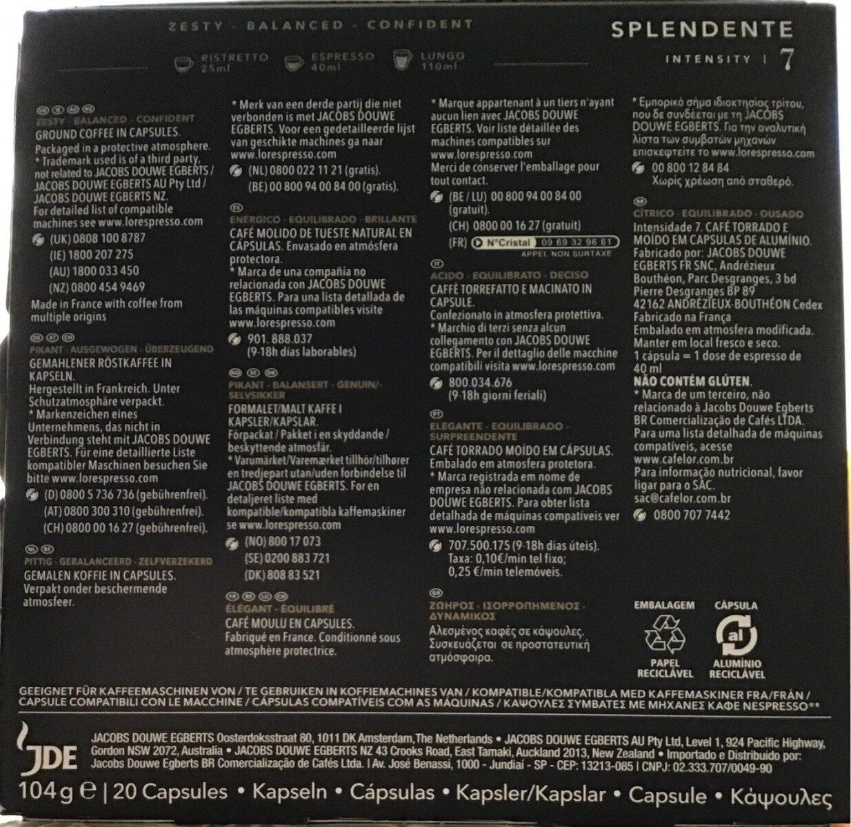 L'or espres splendente 20 capsules - Valori nutrizionali - fr