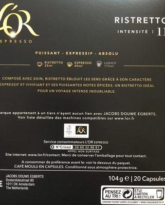 L'or espres ristretto - Ingredienti - fr