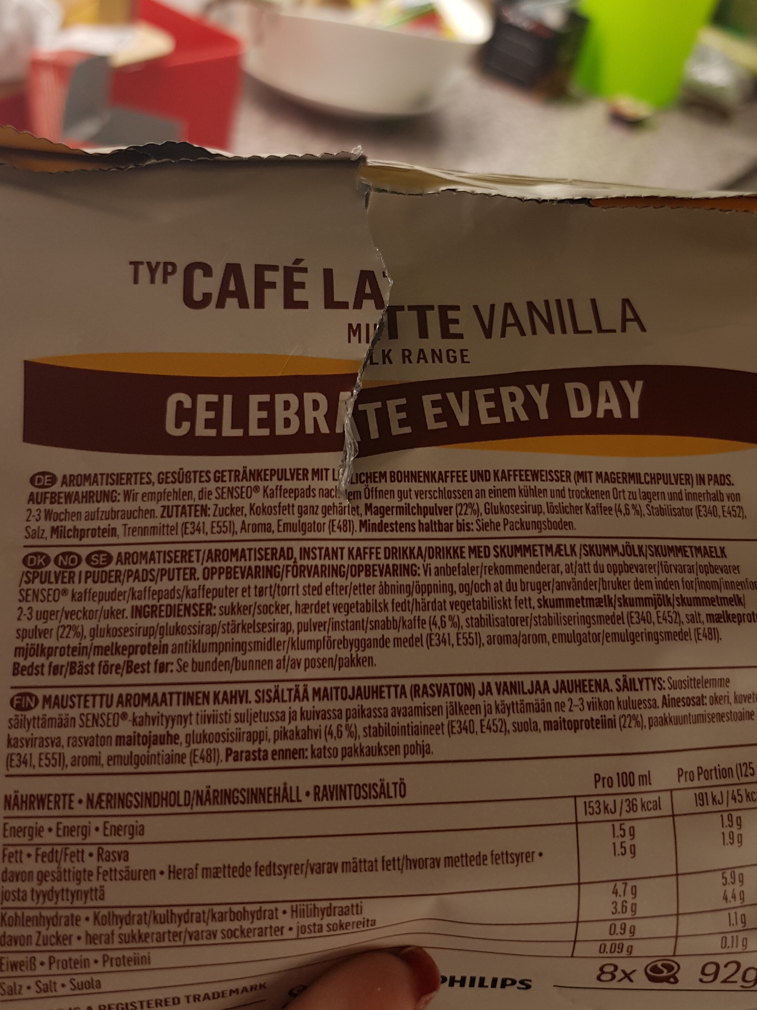Cafe latte Vanilla - Ingredienti - de