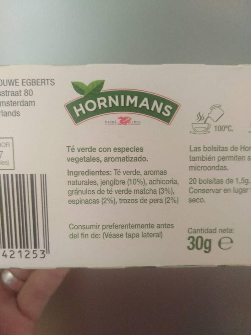 Veggie jengibre y matcha - Ingredientes - es