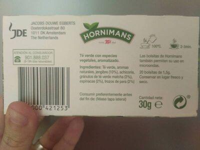 Veggie jengibre y matcha - Información nutricional - es