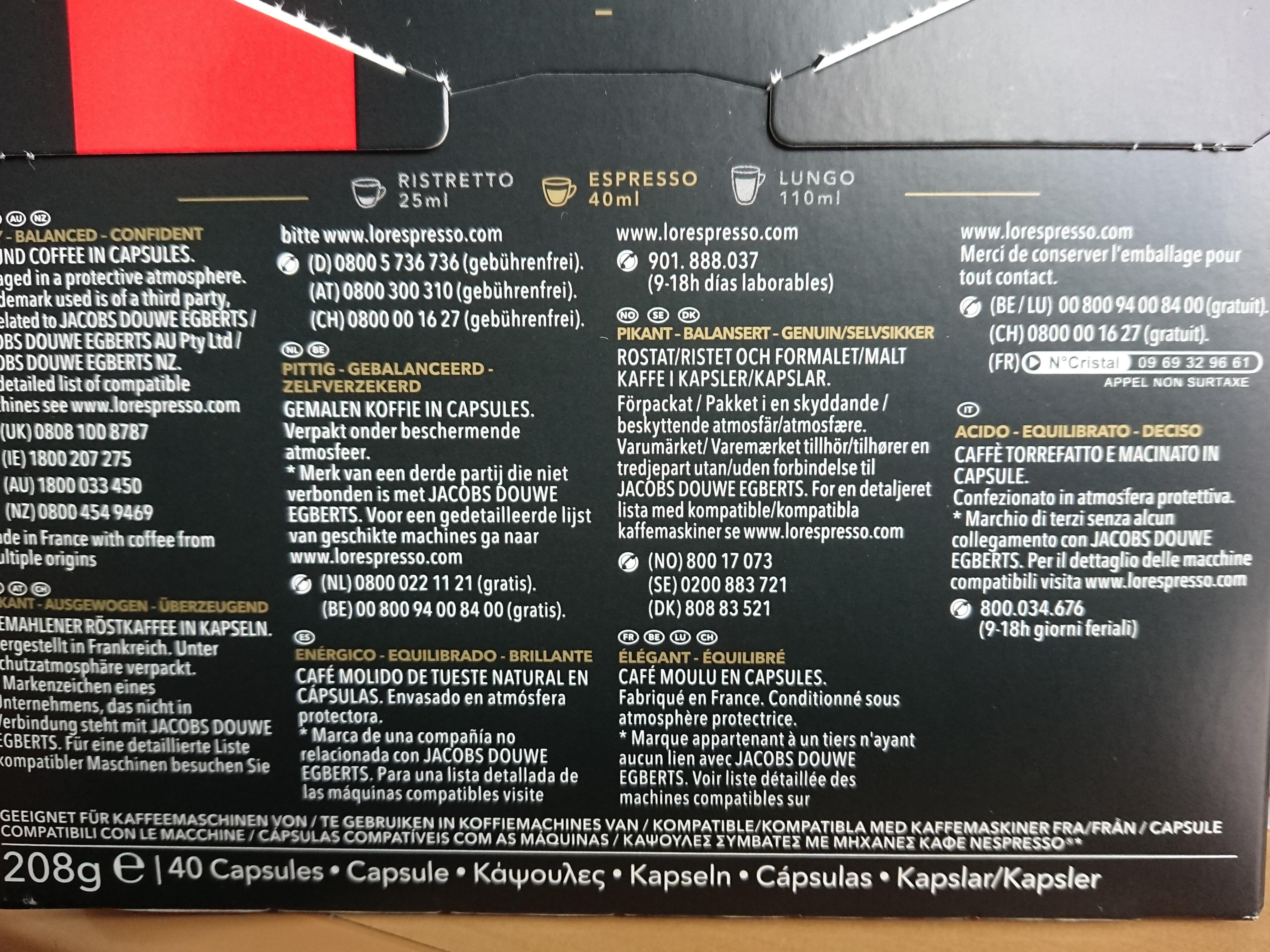 l'or espresso - Ingrédients - fr