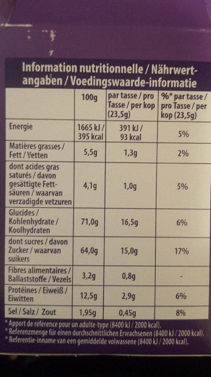 Milka Dosettes Chocolat - Voedingswaarden - fr